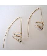 Gold Wire Silver Bead Earrings Spiral Handmade Dangle Pierced Long Hook - $55.00