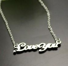 """18K RGP """"Loveyou"""" Pendant Alloy Necklace(Platinum) - £7.44 GBP"""