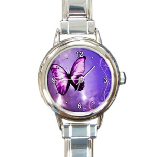 Primary image for Ladies Round Italian Charm Bracelet Watch Purple Butterfly Fly Gift 26025266