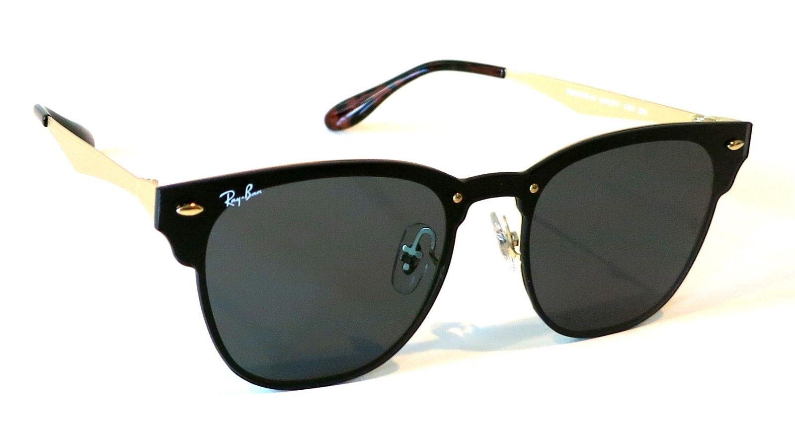 2b0f29af6e Rayban Blaze Clubmaster Sunglasses RB3576N 043 71 Black Gold Green Club 3576