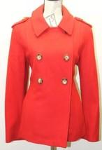 Michael Kors Red Women Wool Winter Jacket Looks Large Double Breasted Pe... - $37.39