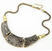 Vintage Snake Stripe Bib Choker Necklace - $9.99