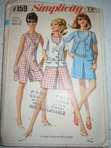 Vtg 1967 Simplicity Juniors' Miss Size 13 Culotte Dress & Jacket Pattern #7159  - $6.99