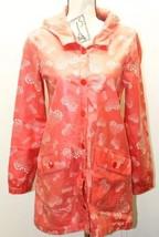 Zara Trafaluc Red Heart Print Women Rain Coat Medium Hoodie Water Proof Resistan - $37.39