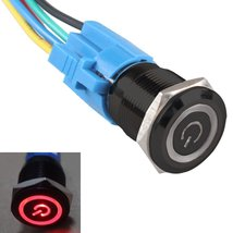 E Support Black 19mm 12V 5A Power Symbol Angel Eye Halo Car Red LED Light Met... - $7.32
