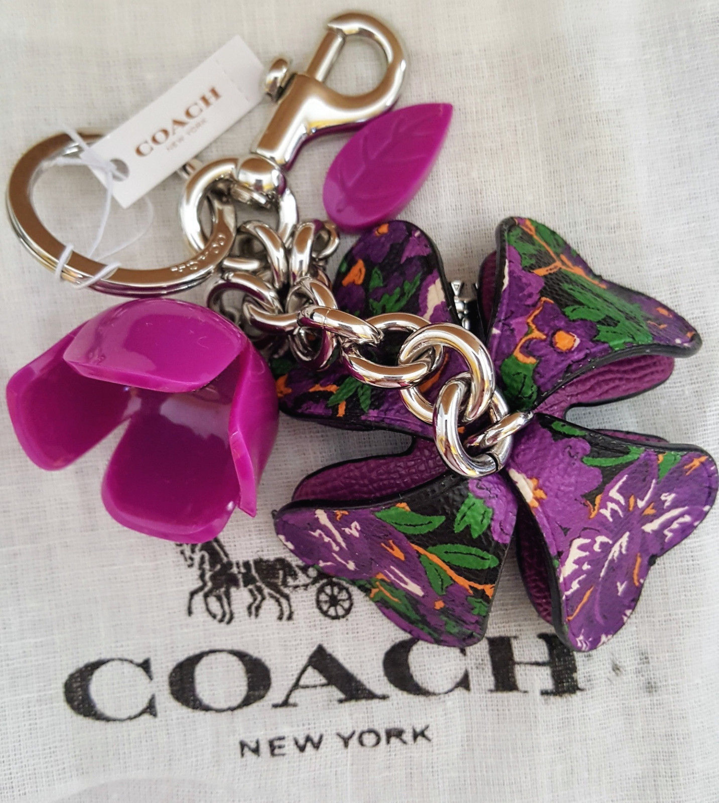 Primary image for COACH 3D Purple Rose Leather and Resin Flower Bag Charm Key Ring w/dustbag