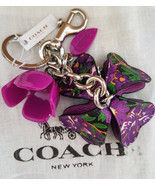COACH 3D Purple Rose Leather and Resin Flower Bag Charm Key Ring w/dustbag - £38.50 GBP