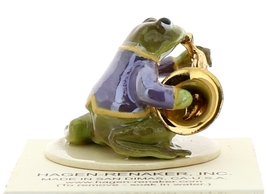 Hagen-Renaker Miniature Ceramic Frog Figurine Toadally Brass Band French Horn image 2
