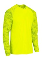 Sun Protection Long Sleeve Dri Fit Safety Neon Green shirt Camo Sleeve SPF 50+ image 2