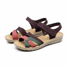 sandals aged shoes toes colors mixed wedges Mother women 2018 middle open women CIYnIFwqx5