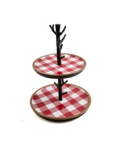 Thirstystone 2-Tier Dessert Serving Tray Stand with Red Checker Plaid NEW - $44.99