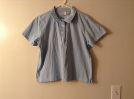 LizGolf Women's Size XL Polo Shirt Short Sleeves Cotton Blend Powder Baby Blue