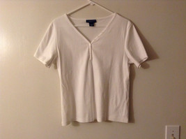 "Karen Scott Women's Petite Size M PM ""T-Shirt"" Henley V Neck Tee White Cotton"
