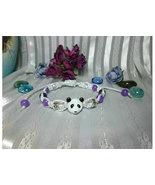 Handmade Macrame Purple Jade Beaded Panda Bear Bracelet  - $12.00