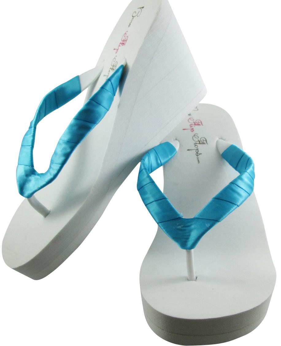 blue turquoise wedge heel wedding satin plain flip flops