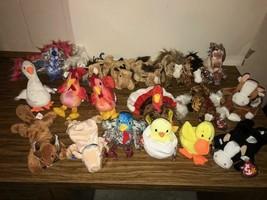 Lot of 20 TY Beanie Babies FARM ANIMALS  - HORSE COW PIG TURKEY PEACOCK ... - $27.72