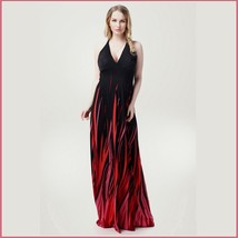 Long Black Chiffon Maxi Sleeveless Red Flames V Neck Plus Sizes Halter Dress