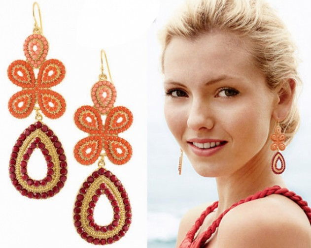 Primary image for Super Pretty BOHO Style Beaded Floral Women's Drop Earrings(Orange)