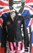 Black Criminal Damage Death Denim Jacket Size Medium Goth/Emo/Punk - $49.02
