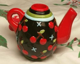 """Primo 1998 Mary Englebreit """"Cherries"""" Teapot Candle Holder - $8.42"""