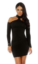 Forplay Upscale Long Sleeve Mock Cold Shoulder Mini Dress ~ Black, Red or White - $31.99