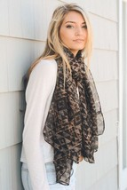 Women's Mocha Burnout Print Tribal Triangle Scarf with Subtle Neon Accents - $11.49 CAD