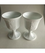 "Vintage 2 Milk Glass Grape Vine Footed Goblet 5.5""  Mid Century Decor - $10.10"