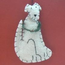 White Sitting Dog Felt Ornament - $5.95