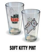 The Big Bang Theory Soft Kitty Figure & Name Logo Illustrated Pint Glass... - $6.87