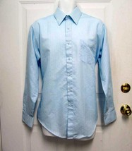 Vintage 16 34/35 Sears Perma-Prest Mens Blue Dress Casual Straight Collar Shirt - $14.50