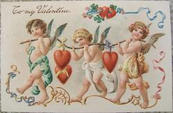 EMBOSSED TO MY VALENTINE CUPIDS HEARTS POSTCARD GERMANY