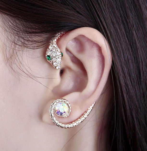 Primary image for 18K RGP Cool Rhinestone Snake Ear Cuff for Women