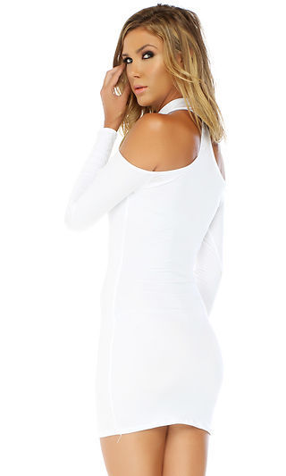 Forplay Upscale Long Sleeve Mock Cold Shoulder Mini Dress ~ Black, Red or White
