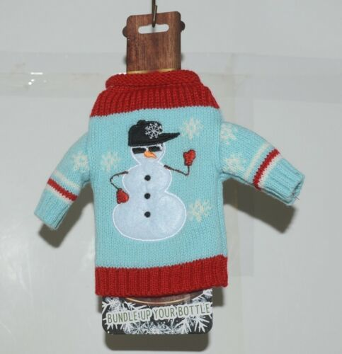 DMM Uncle Bobs XSweat Ugly Knitted Bottle Sweater Light Blue With Snowman