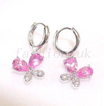 New Pink Cubic CZ White Gold Plated Girl Women Butterfly Hoop Dangle Ear... - $19.15