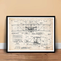 Wright Flyer First Airplane 1903 Art Print Poster Brothers Orville Wilbur Flying - $18.97+