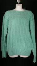 Vintage Polo Ralph Lauren Sweater Large L Cotton Green Cable Knit NWT  - $34.64