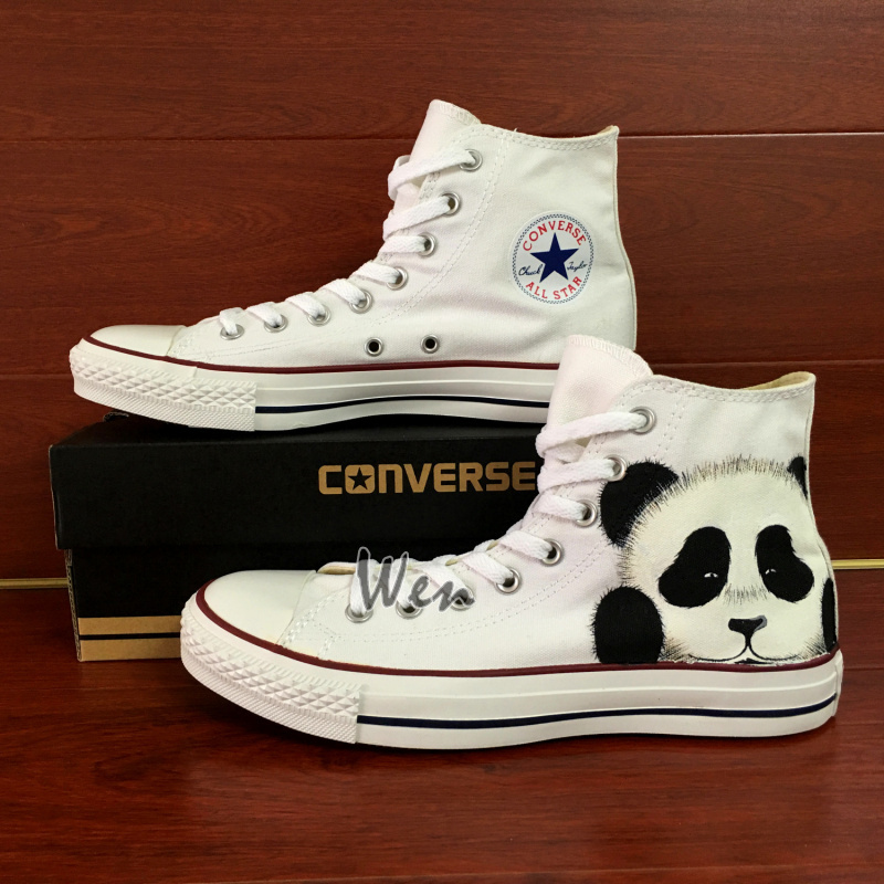 cute panda converse all star hand painted shoes high top