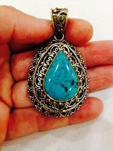 Nemesis Silver Bronze Repose Vintage Geniune Tibet Turquoise  Pendant  N... - $64.35