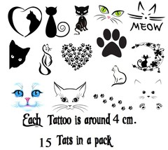 Cat c3  Temporary Tattoos  - $11.00