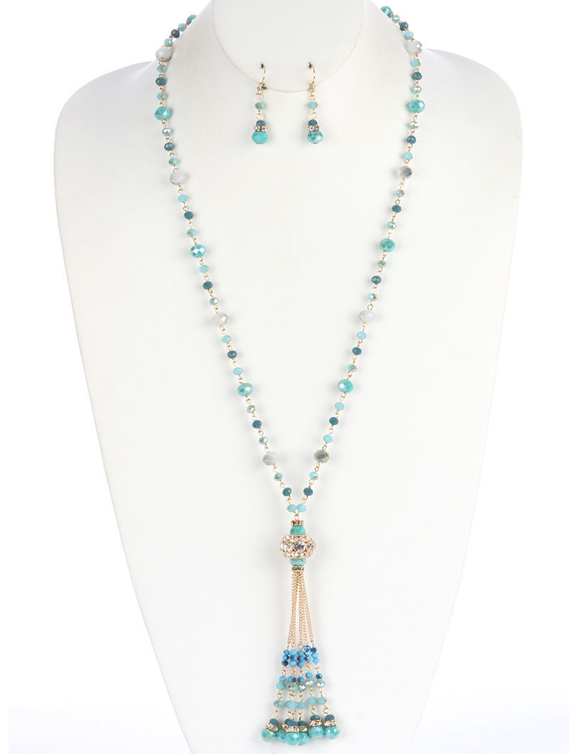 Gold & Turquoise Stone Charm Tassel Crystal Stone Ball Metallic Bead Necklace