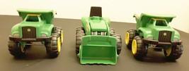 John Deere plastic toy front loader dump truck lot of 3 boys green farm - $10.41