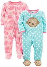 Simple Joys by Carter's Baby Girls' 2-Pack Fleece Footed Sleep and Play, Monkey/ - $19.76