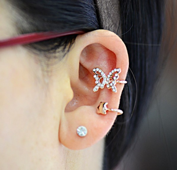 Primary image for 18K RGP Rhinestone Butterfly Ear Cuff for Women