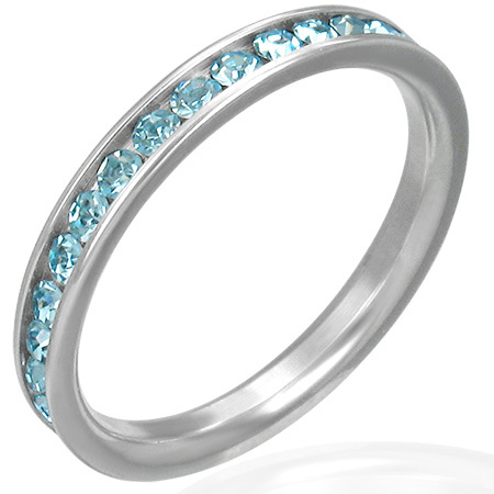 Eternity Band Ring w/Aqua Cubic Zirconia