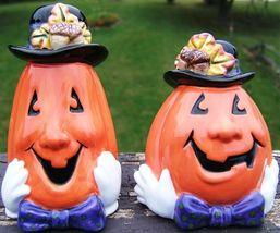 FITZ and FLOYD Derby Pumpkins SALT PEPPER SET 2063/32 HALLOWEEN 2000 - $59.99