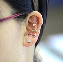 18K RGP Colored Rhinestone Musical Note Ear Cuff - $12.99
