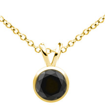 0.75CT Men/Women Black AAA Diamond Bezel 14K Solid YG Solitaire Pendant W/ Chain - $119.77+