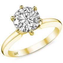 1.50CT Women's Unique 14K YG Round Moissanite 6 Prong Solitaire Engagement Ring - £600.66 GBP