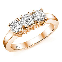 1.50ct Womens Amazing Round Three Stone Moissanite 14k RG Basket Engagement Ring - $821.70
